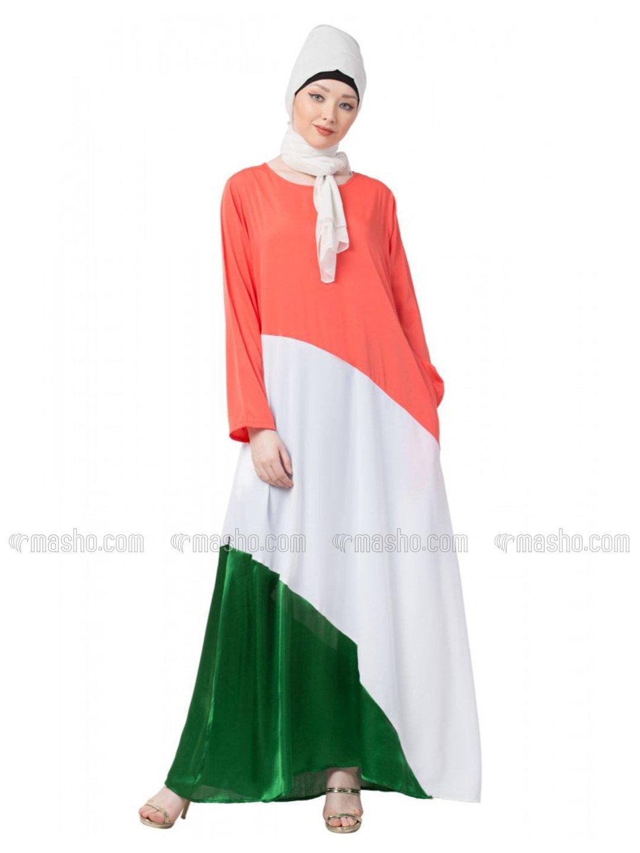 polyester Crape asymmetrical Abaya In Saffron White And Green