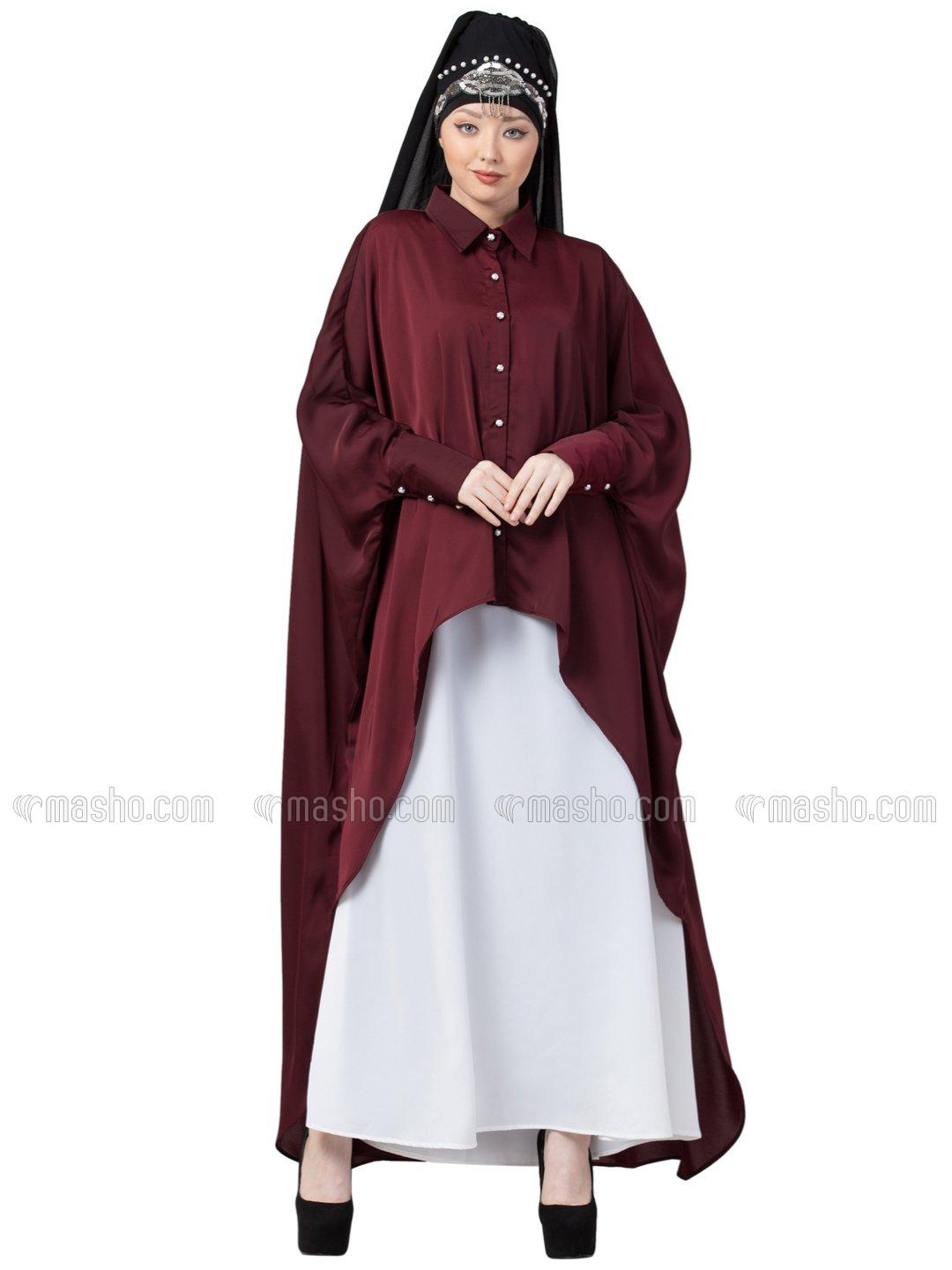 Satin Front Open Shirt Kaftan With Inner Casual Abaya In Maroon And White