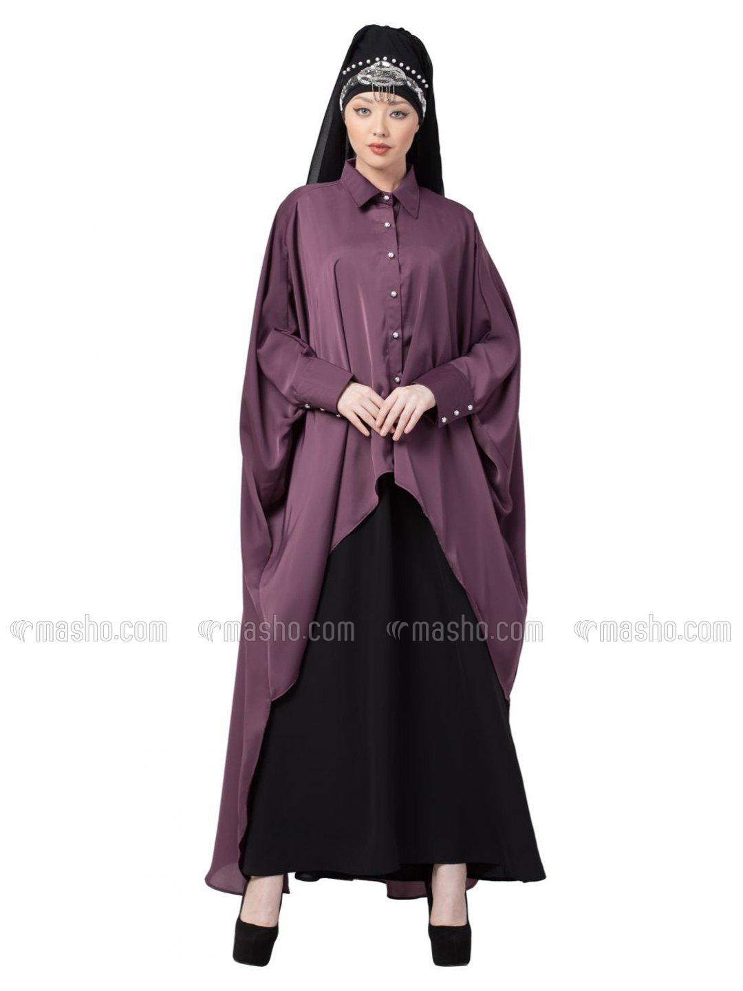 Satin Front Open Shirt Kaftan With Inner Casual Abaya In Purple And Black