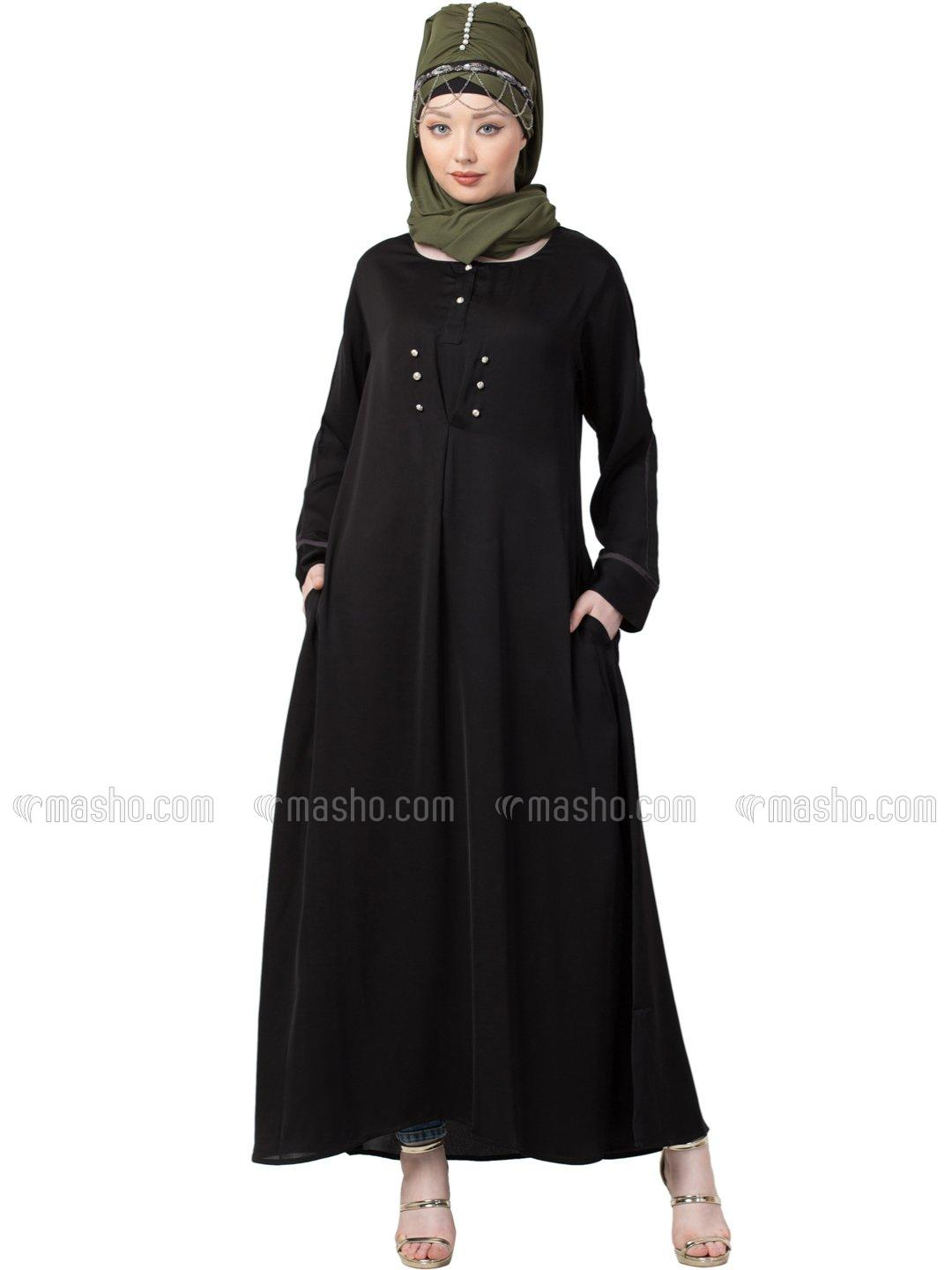Satin Extra Decorative Button With Casual Abaya In Black