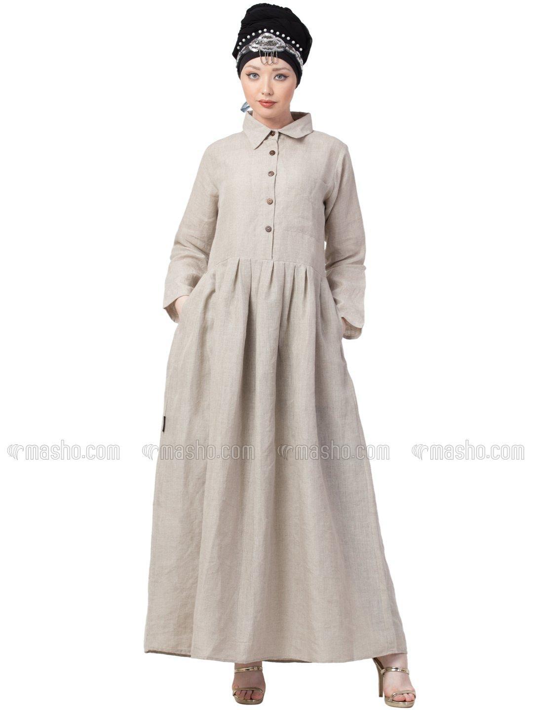 Linen executive collar shirt Abaya In Biege