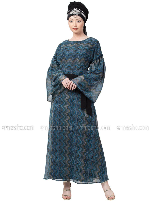 Georgette Zig Zag Printed Bell Sleeve Abaya In Green