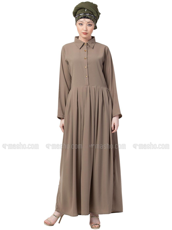 Crepe Shirt Collar Executive Abaya In Khaki