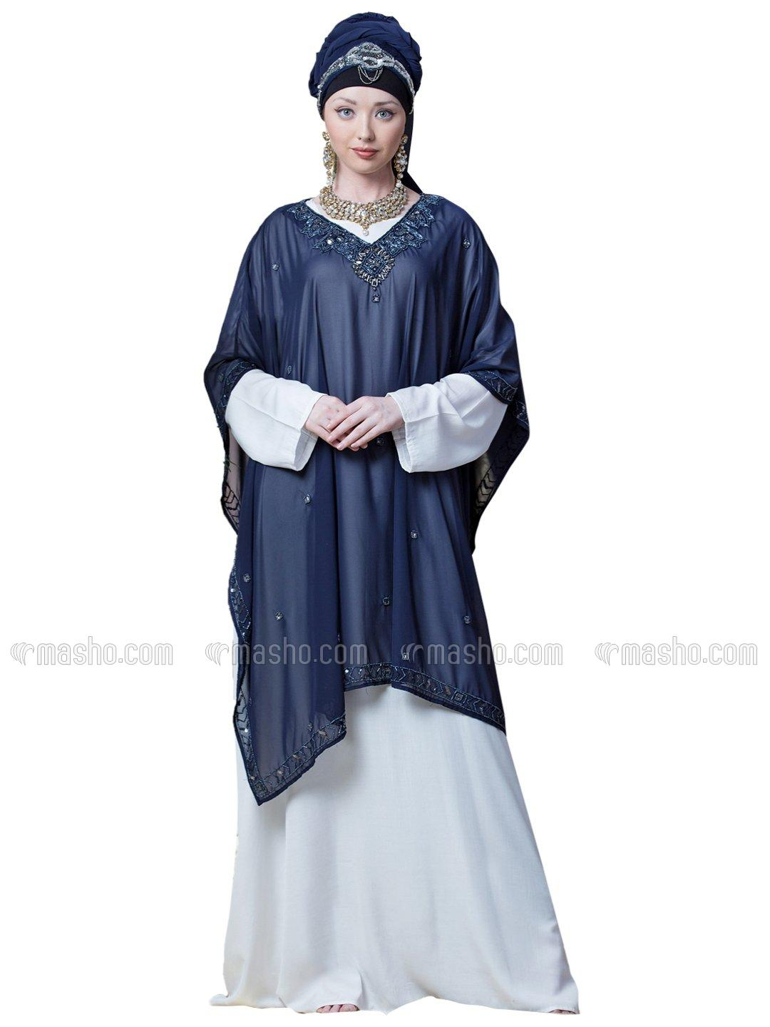 Georgette Double Layer With Embellished Party Abaya In Blue And White