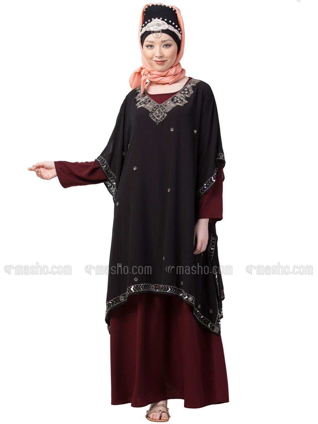 Georgette Double Layer With Embellished Party Abaya In Black And Maroon