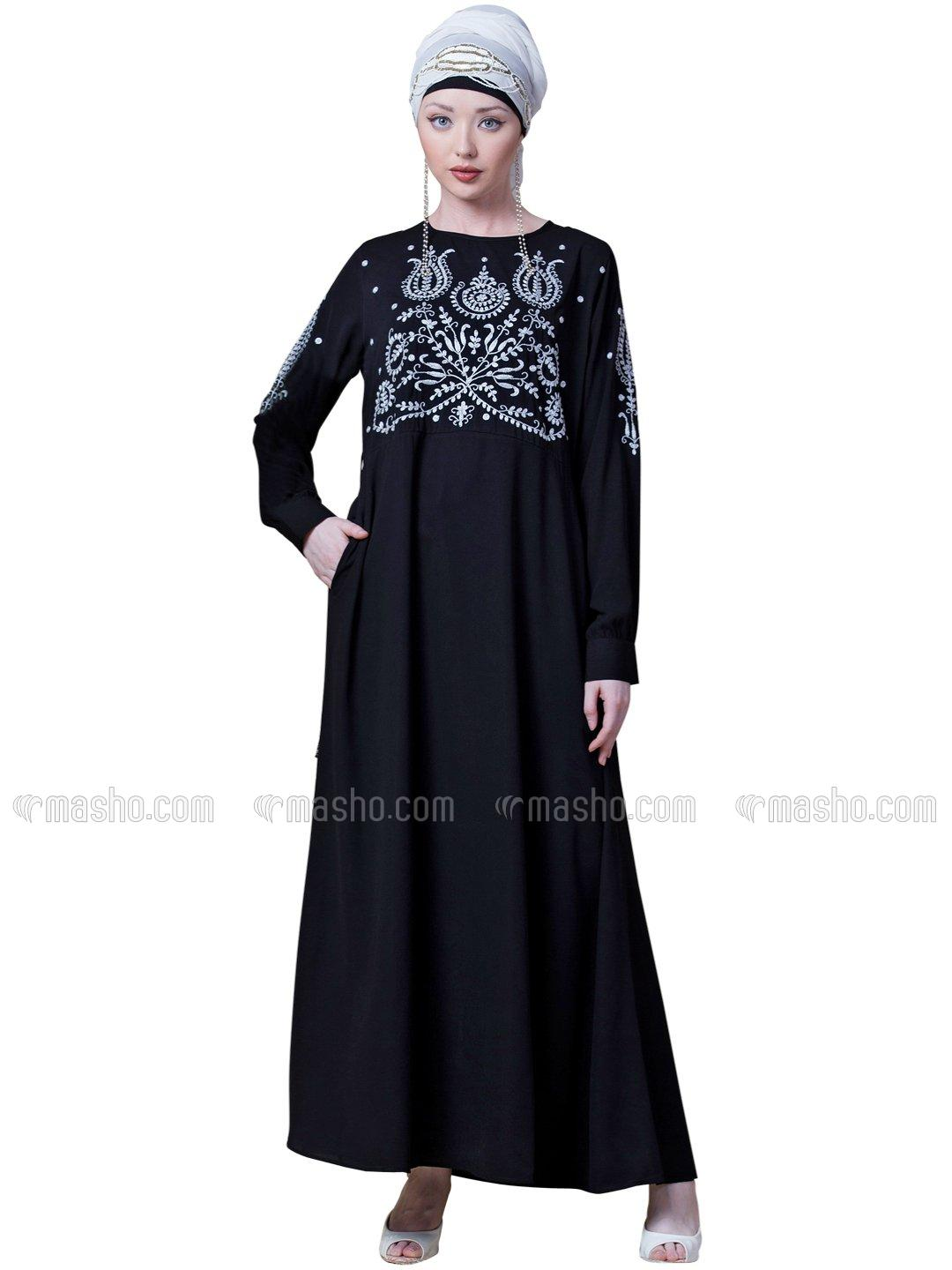 100 % Polyster Crepe Embroidered party Abaya In Black And Silver