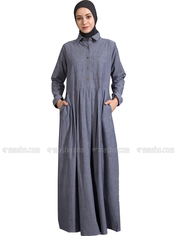 Cotton Chambery Shirt Collar Executive Abaya in Blue Chambrey