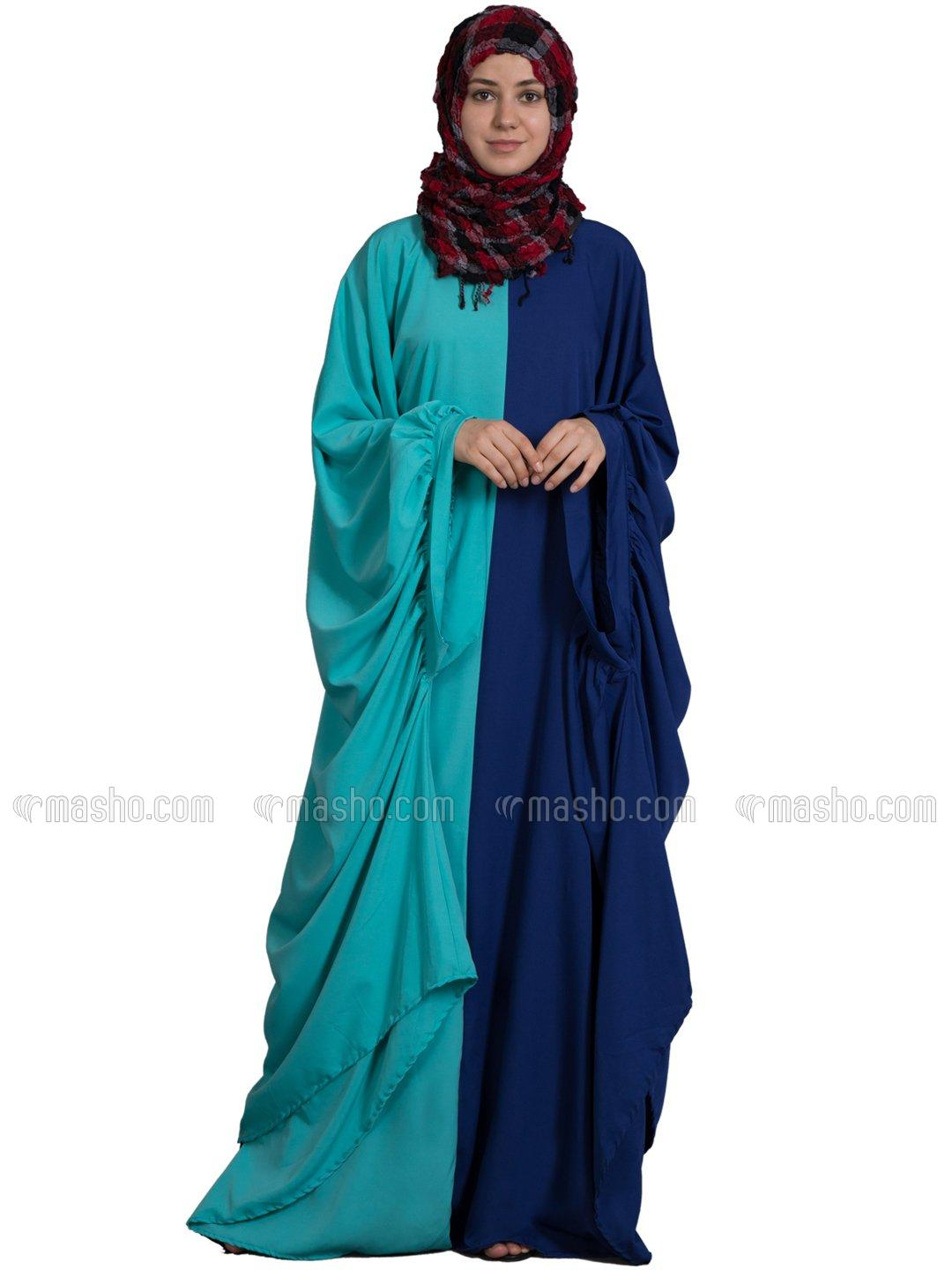 Polyster Crepe Contrast One Piece Casual Abaya in Royal Blue and Aqua