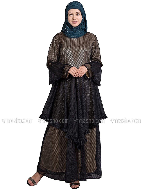 Net Zig Zag Frill Funky Abaya In Black And Gold