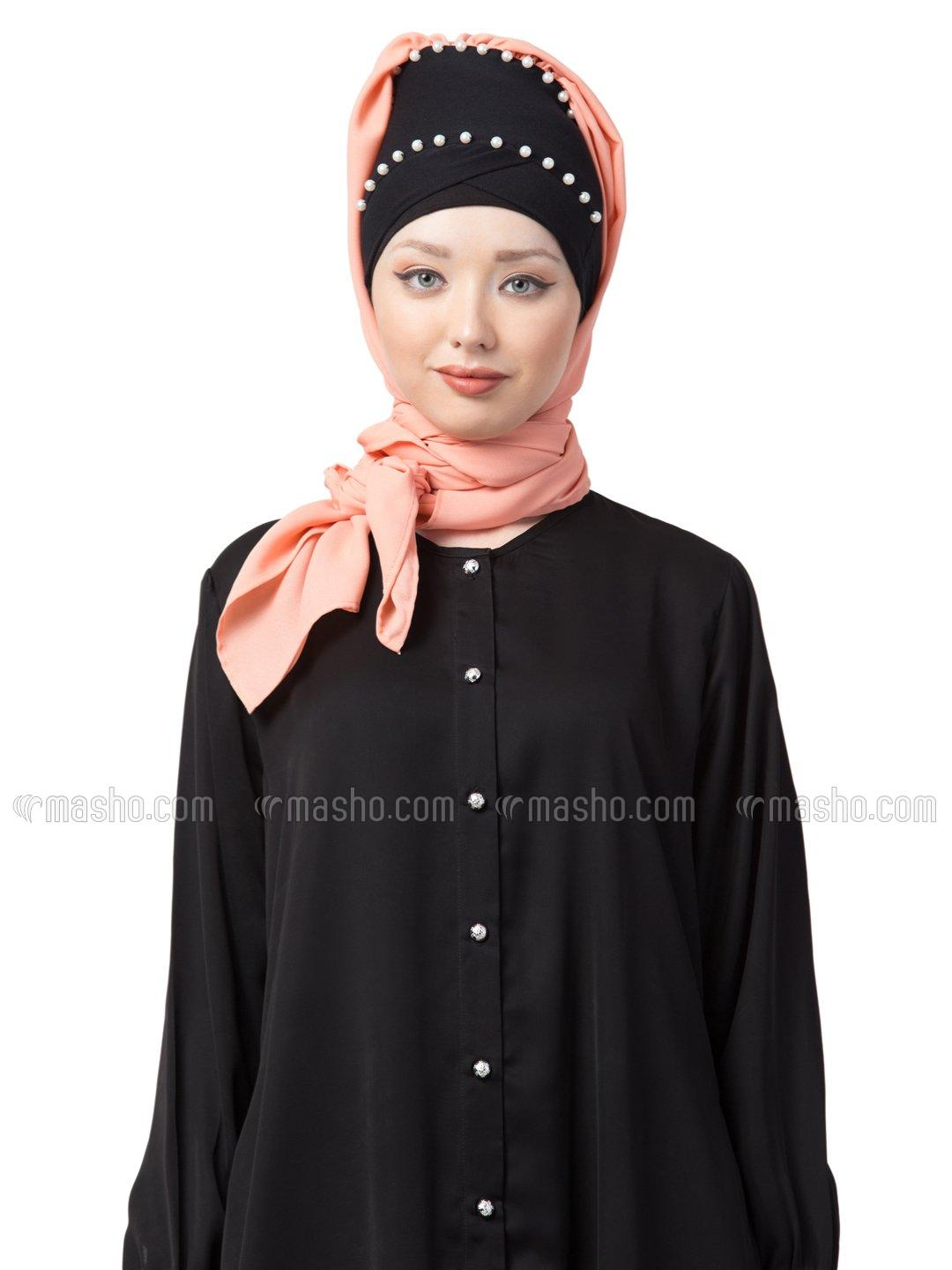 100% Cotton Pearl Work Turban with attached Hijab In Black And Peach