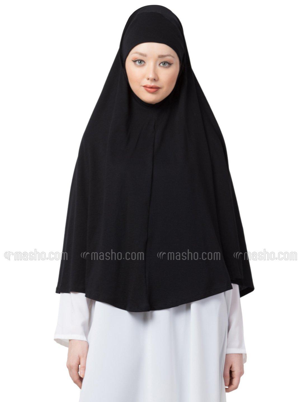 100% Cotton Knits Prayer Hijab In Black