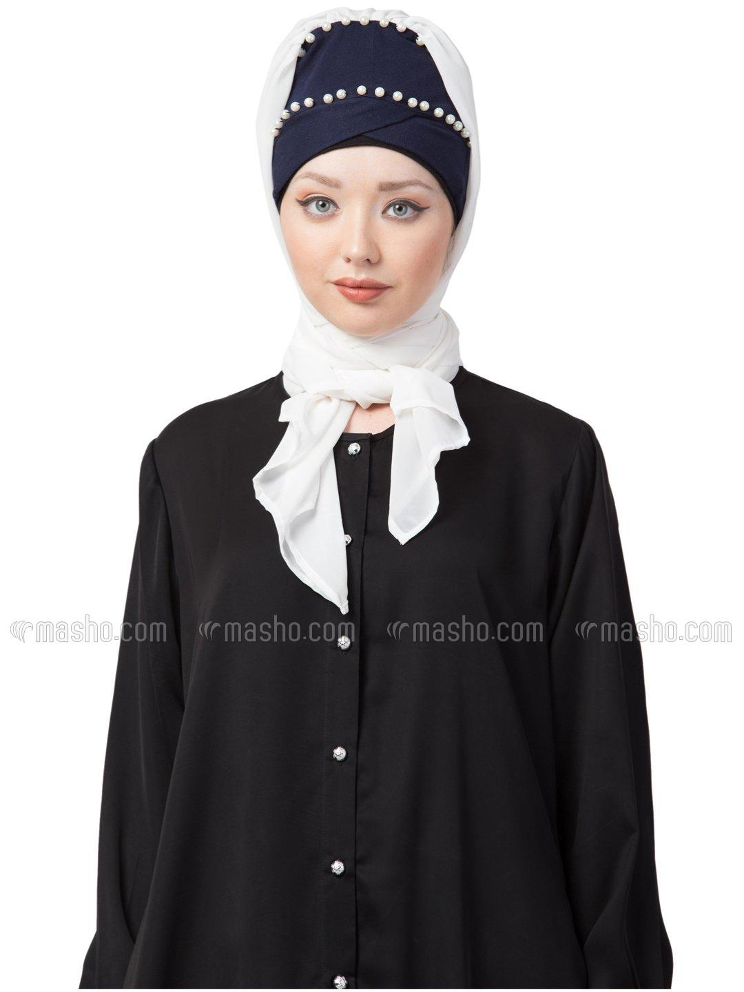100% Cotton Pearl Work Turban With Attached Hijab In Navy And White