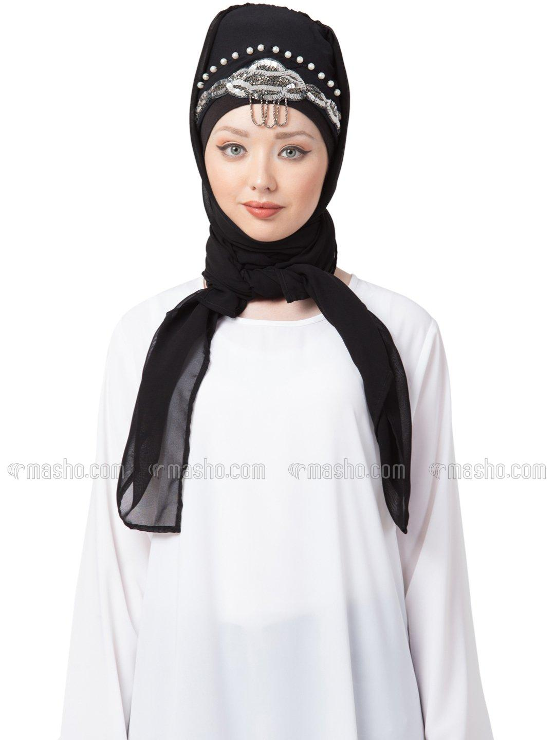 Georgette Hand Work Turban with attached Hijab In Black