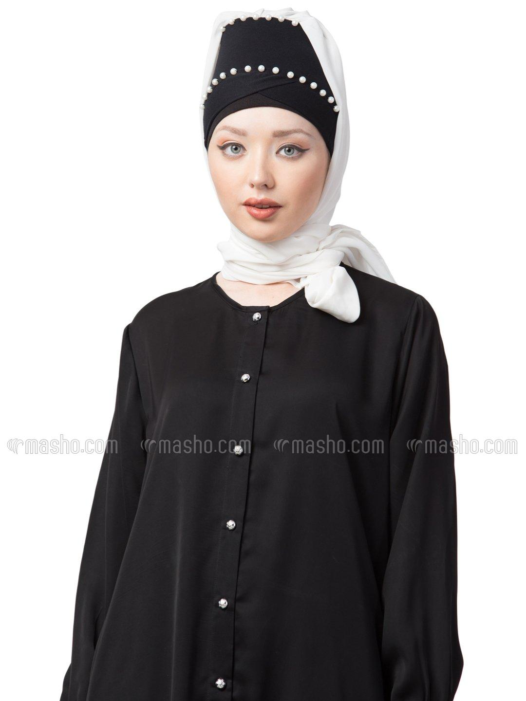 100% Cotton Pearl Work Turban With Attached Hijab In Navy Blue And white