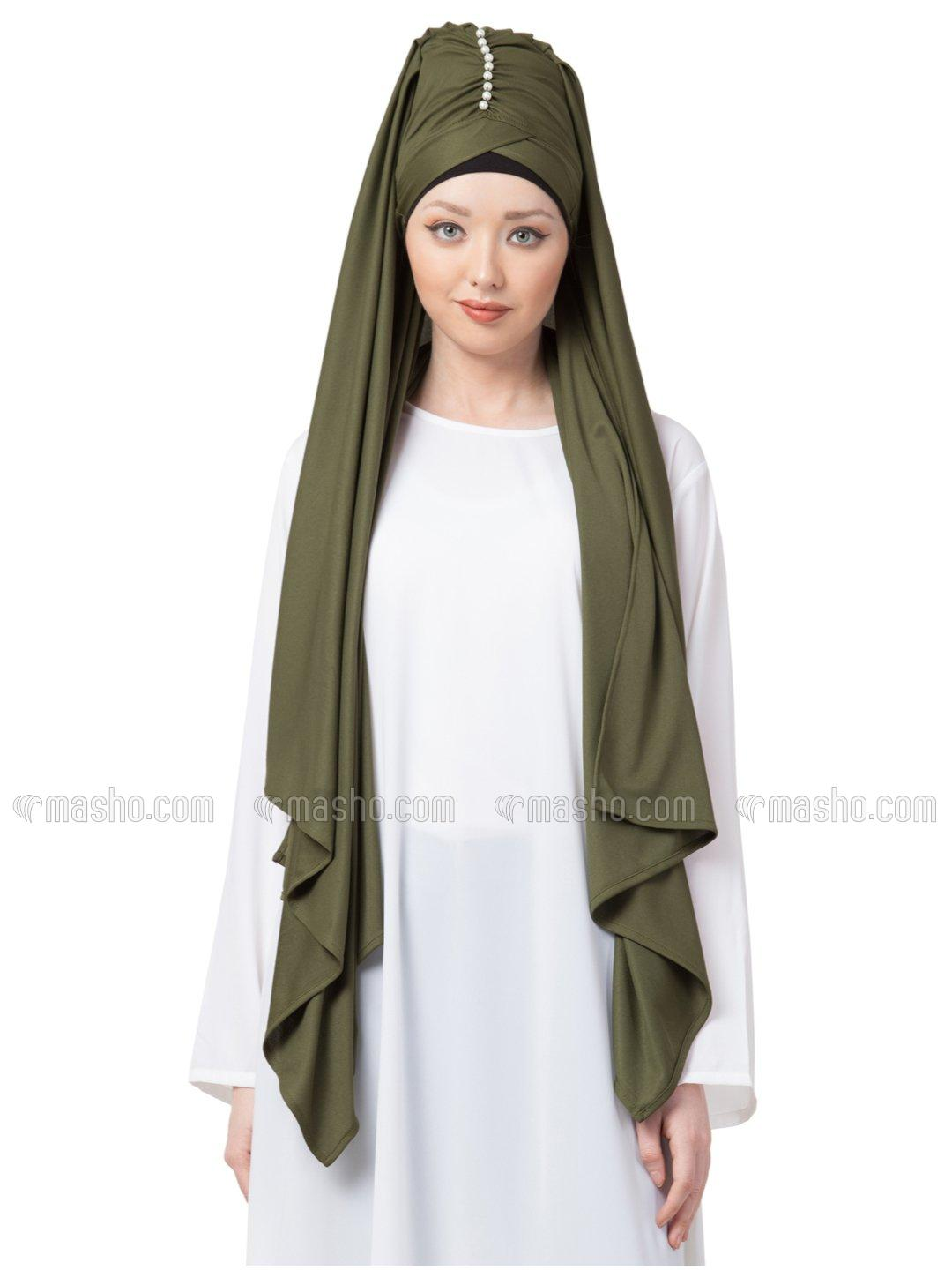 Polyster Turban With Attached Hijab In Olive