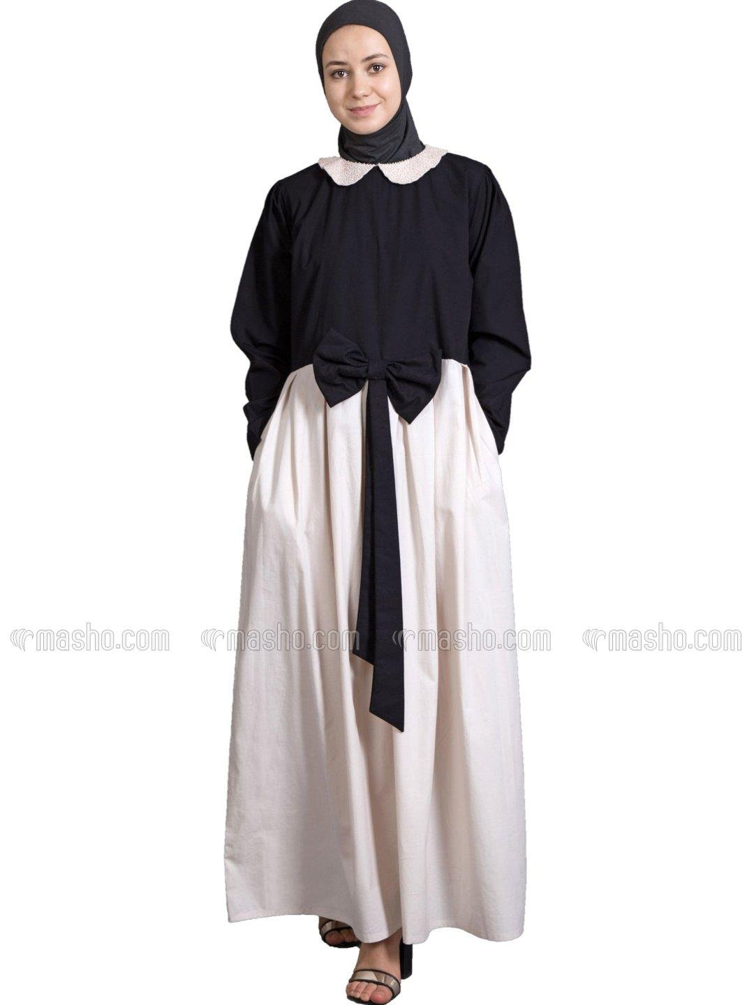 100% Cotton Embroidered Peter Pan Collar Party Abaya In Black And Cream