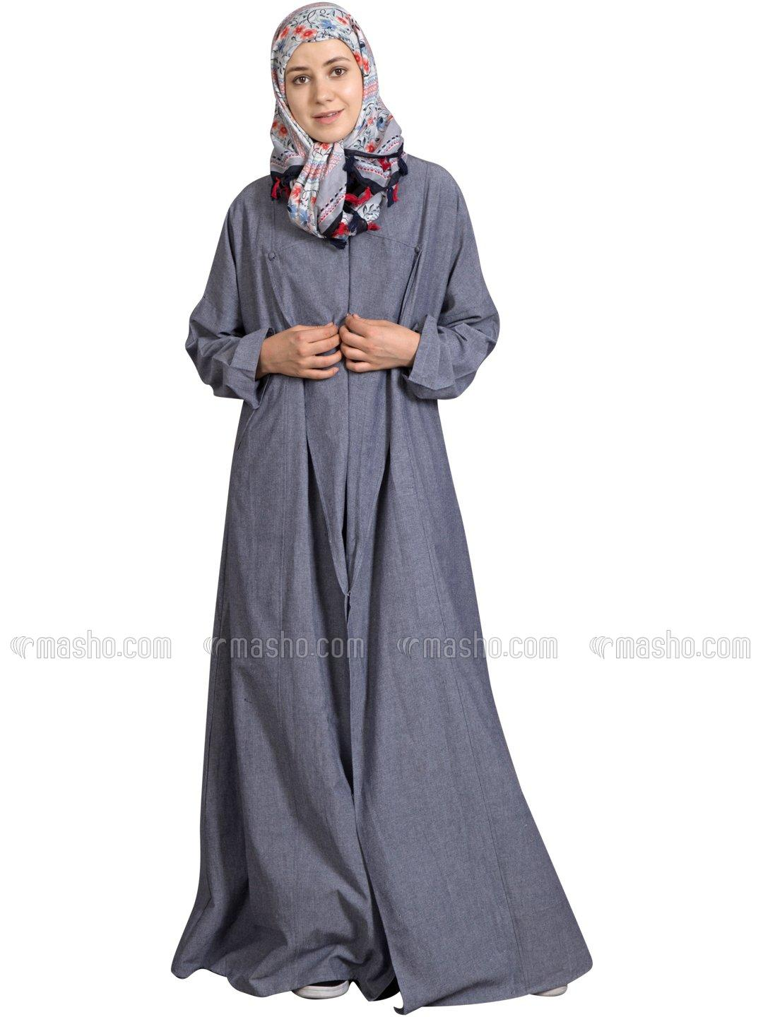 100% Cotton Chambray Executive Front Open Coat Abaya In Blue Denim