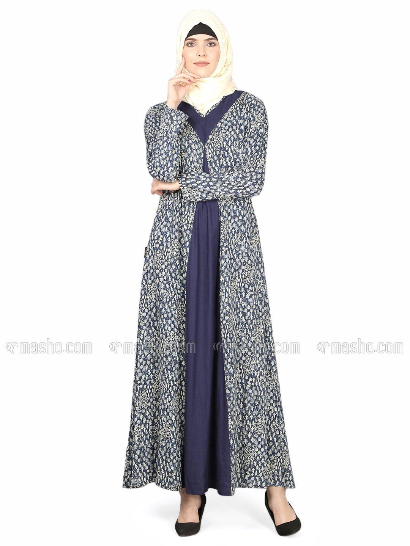 100% Viscose Rayon Printed Contrast Yoke Casual Abaya In Indigo Blue
