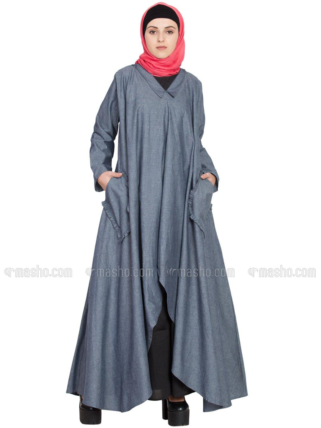 100% Cotton Chambray and Poplin Two Piece Frilled Pocket Abaya in Blue and Black