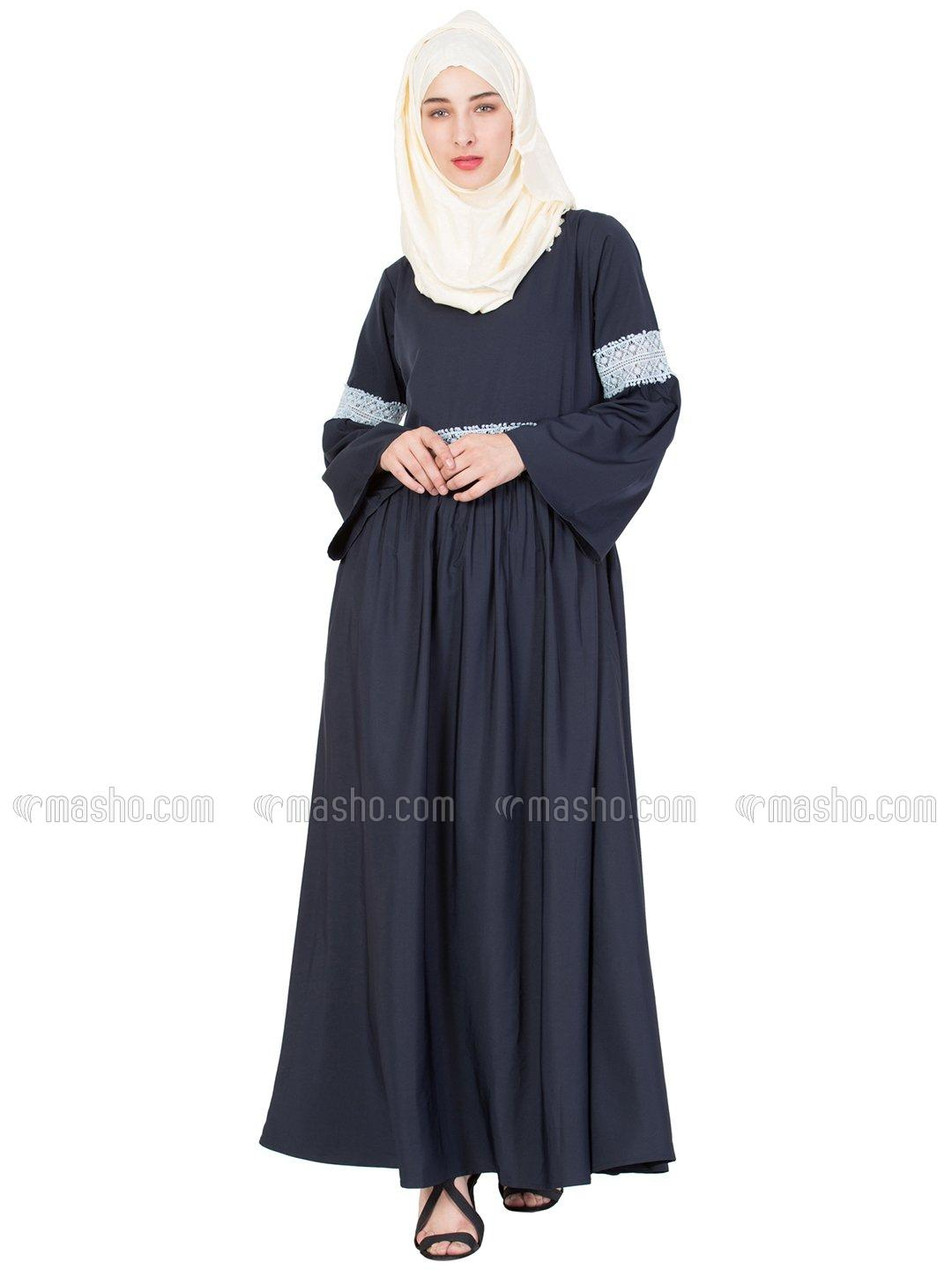 100% Polyester Crepe Lace At Waist and Sleeve Abaya in Navy Blue