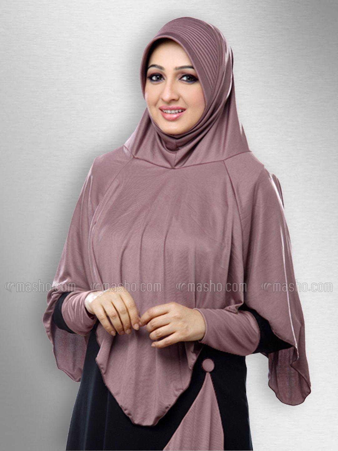 Nabah Ready to wear long covering  modest hijab In Coffee Brown