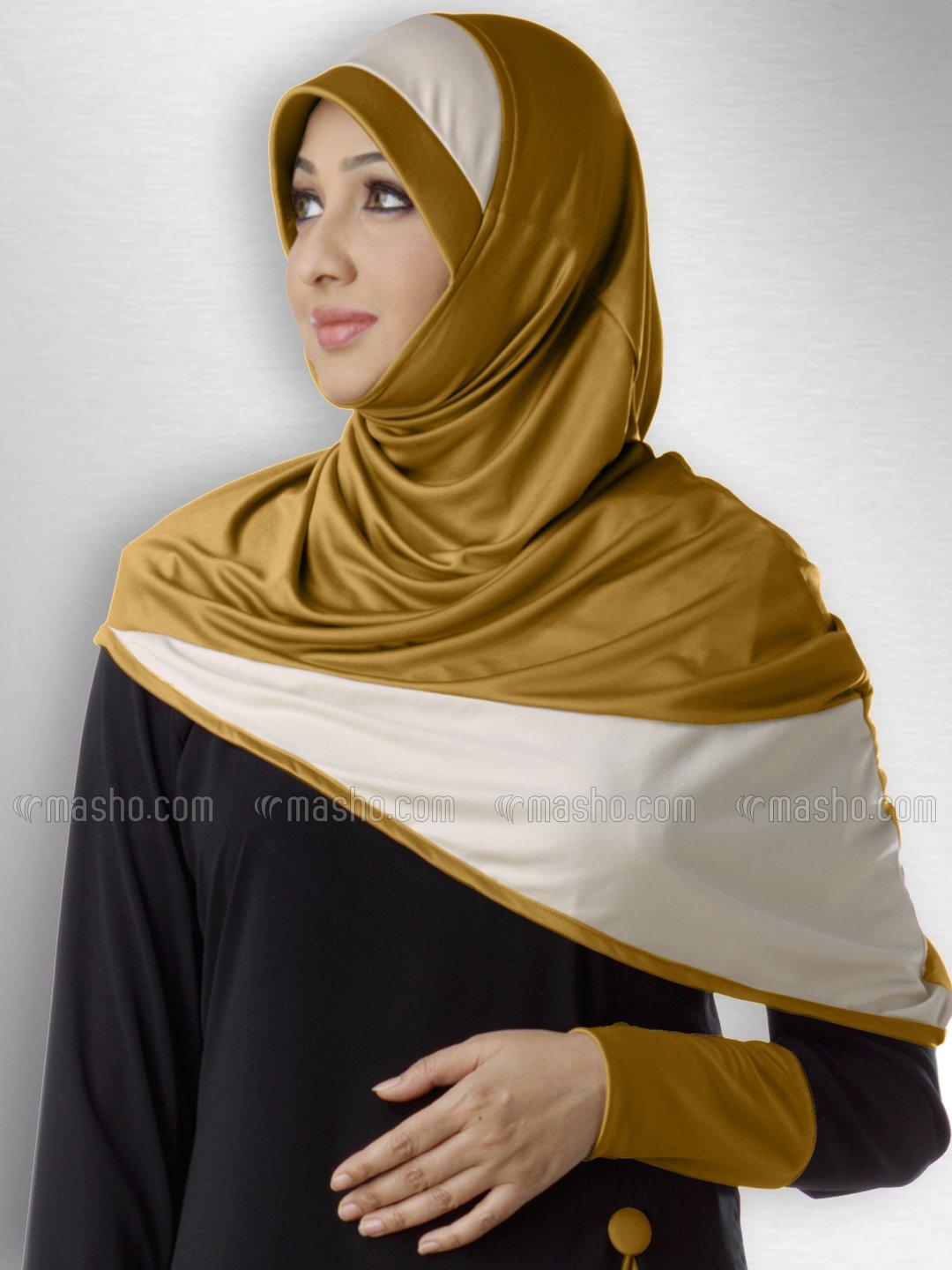 Fida Ready to wear long covering  modest hijab In Gold wheat