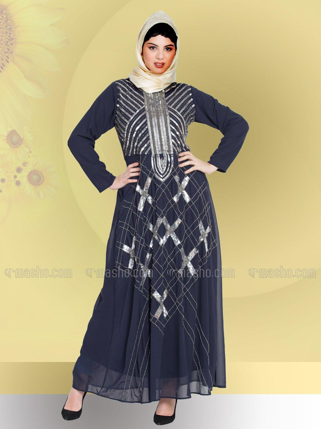 100% Polyester Abaya With Beads Sequins Embellished in Navy Blue