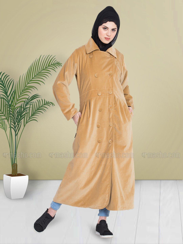 100% Cotton Coat Abaya With Velvet Winter Double Breast in Beige