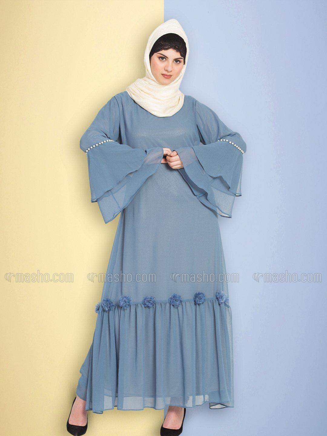 100% Polyester Abaya With Bell Sleeve Flowers Around Knee in Petrol Blue