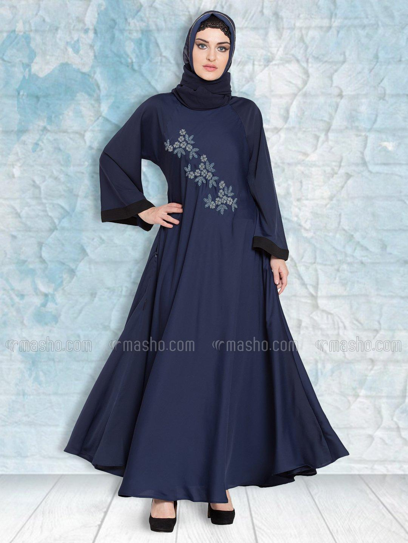 100% Polyester Satin Nida Abaya Hand Embroidered Umbrella In Navy Blue