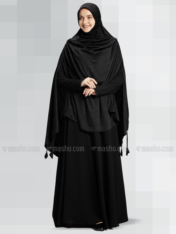 Ulema DD Soft Drip Drop Fabric Khimar In Black
