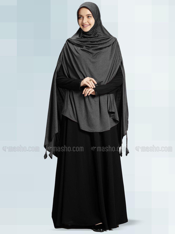 Ulema DD Soft Drip Drop Fabric Khimar In Grey