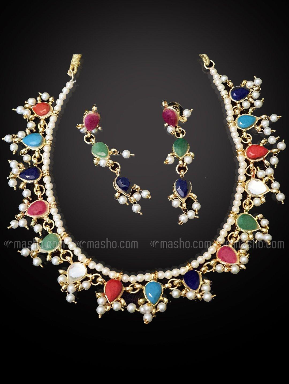 Jadau Nauratan High Quality Brass Golden Polish Necklace Set With Jaipuri Kundan Work In Golden