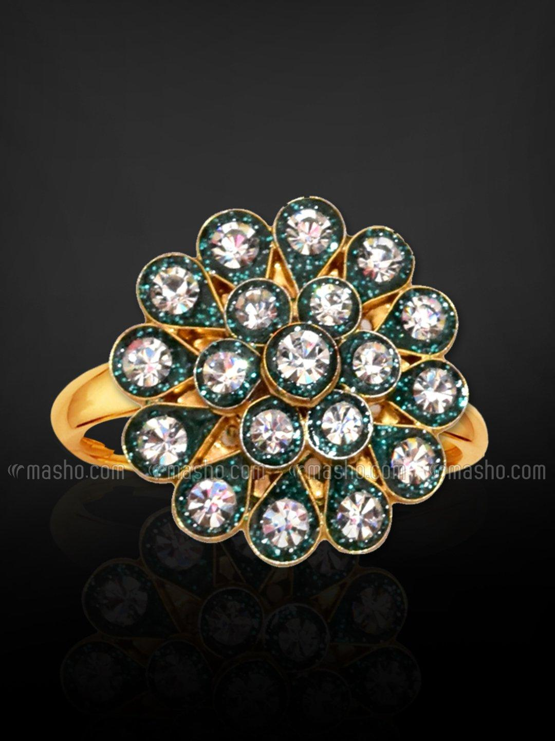 Awadhi Handmade High Quality Brass With Golden Polish Finger Rings In Green