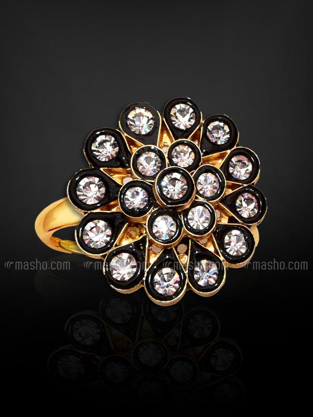 Awadhi Handmade High Quality Brass With Golden Polish Finger Rings In Black