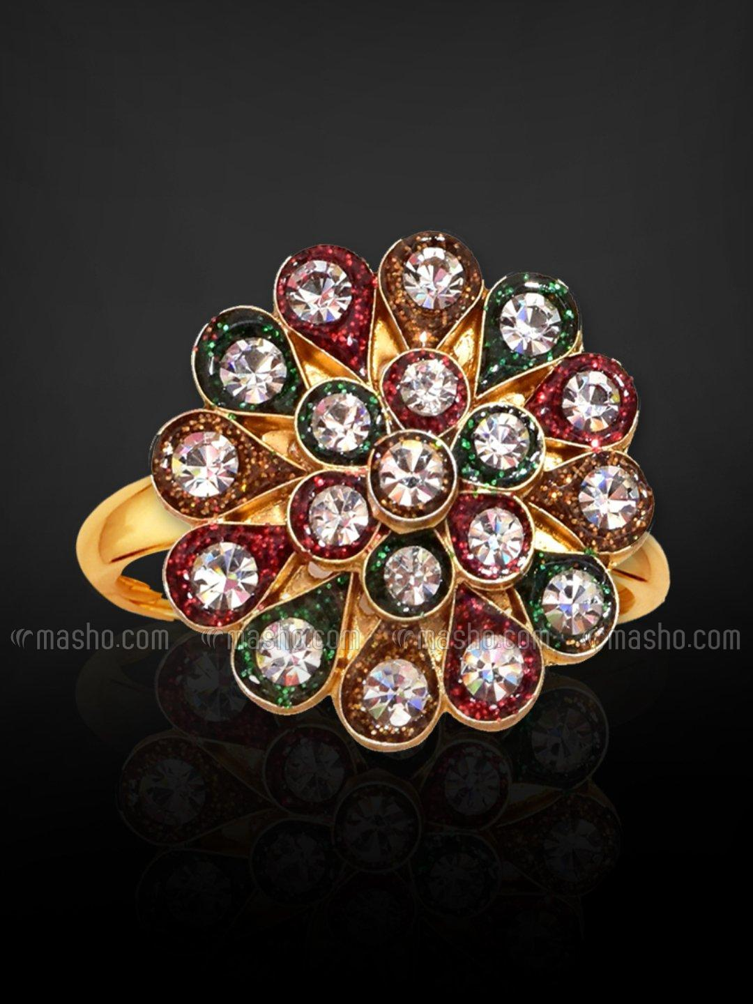 Awadhi Handmade High Quality Brass With Golden Polish Finger Rings In Multi Colour