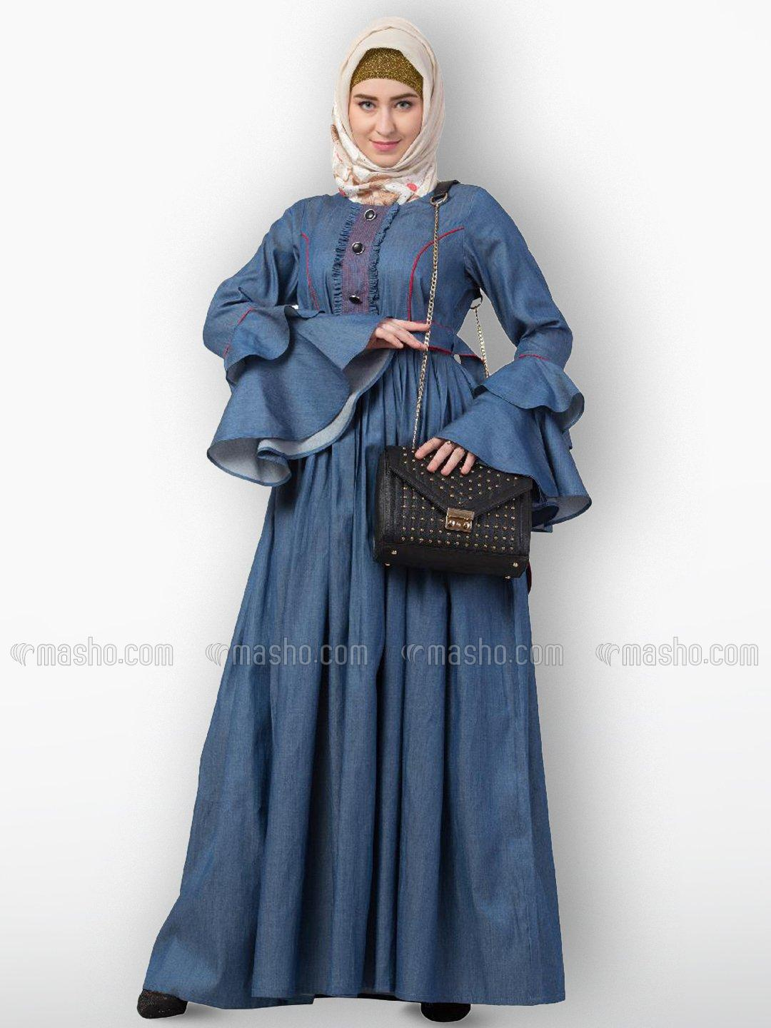 Premium Denim Abaya With Front Buttons And Piping Design In Denim Blue