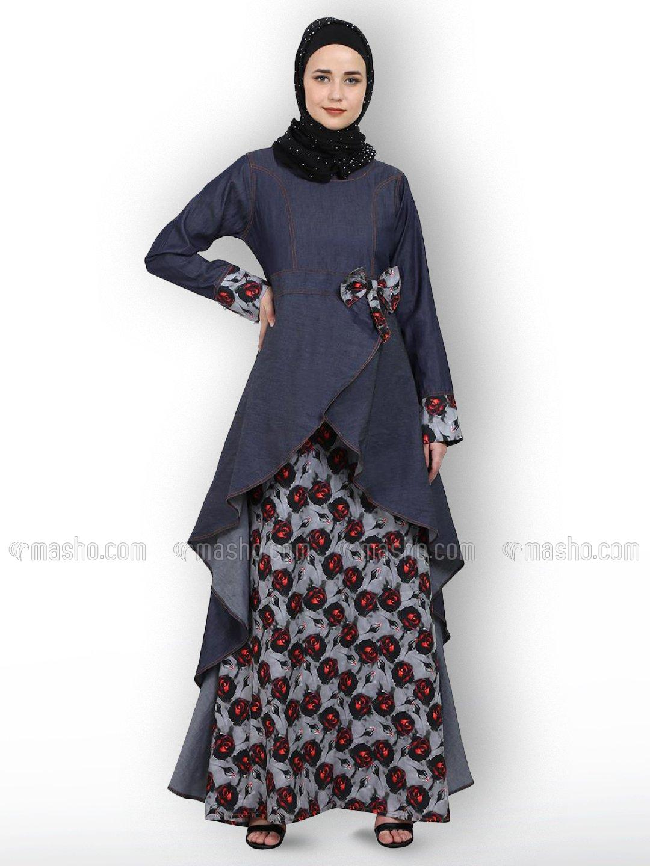 Denim Modest Dress With Digital Print Work In Denim Blue