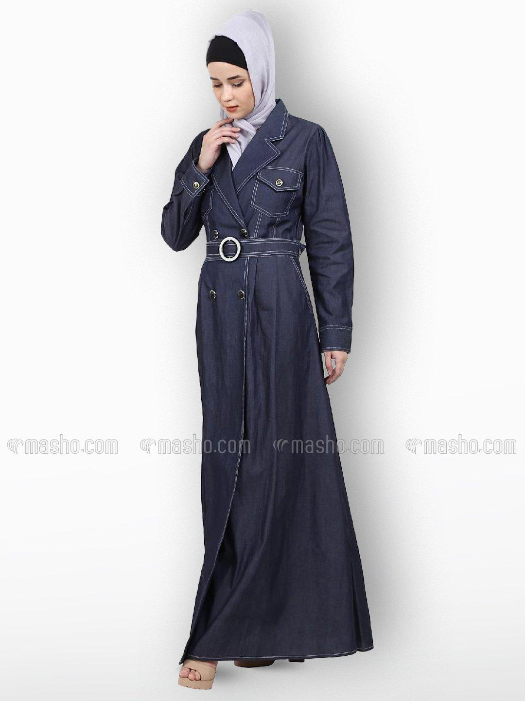 Denim Cot Abaya With Design Of Pockets And Belt With Buttons On Front In Denim Blue