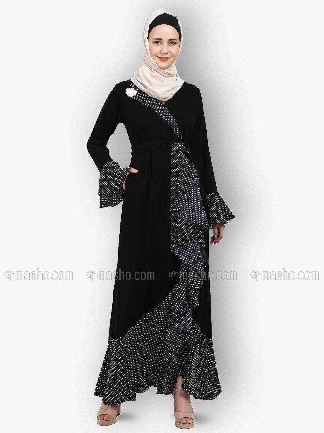 Nida Matte And Crepe Modest Dress With Polka Dotted Frills In Black