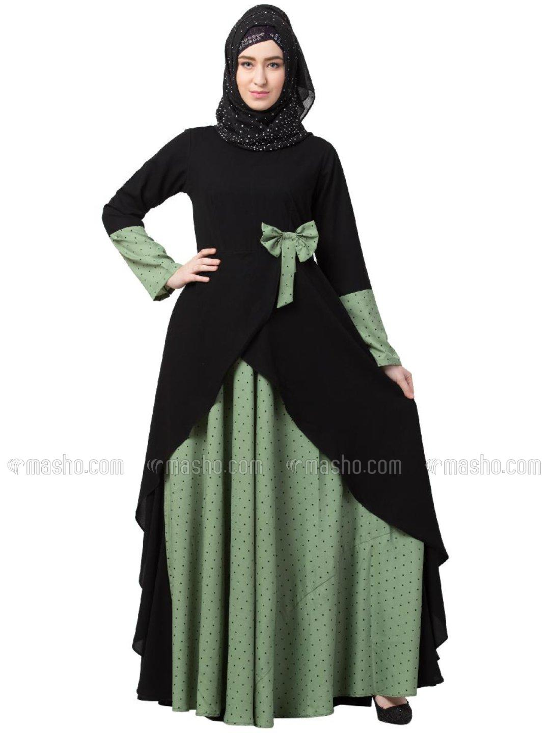 Nida Matte And Crepe Modest Dress With Polka Dotted In Green And Black