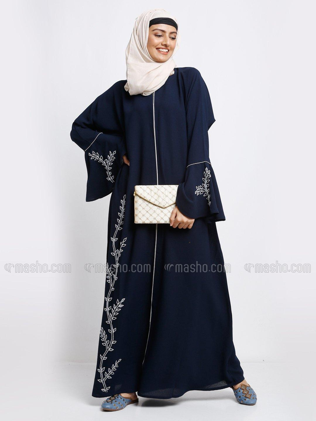 Korean Masha Crepe Simple Free Size Abaya With Crystal Hand Work And Piping Work In Navy Blue