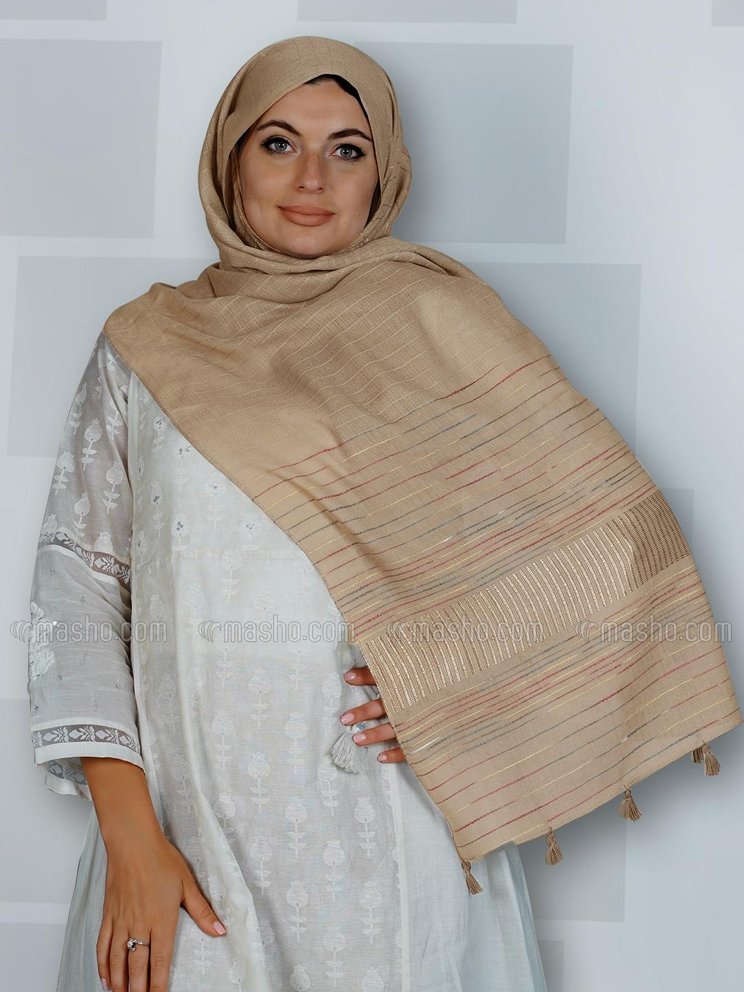 Premium Cotton Stole With Line Pattern And Tassel Work In Light Brown