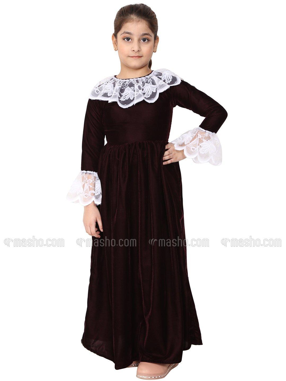 Premium Velvet Dress for Kids In Maroon