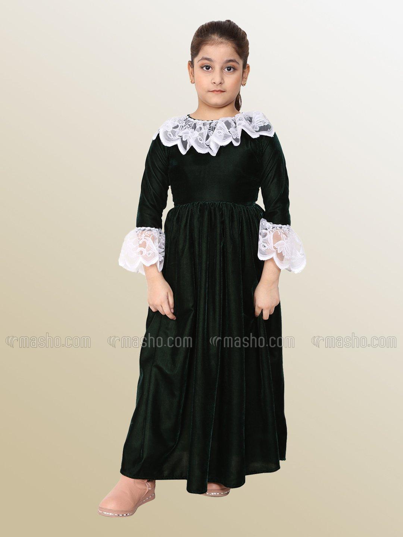 Premium Velvet Dress for Kids In Green