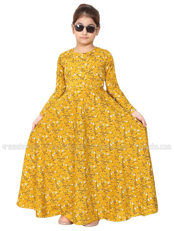 American Crepe Printed Umbrella Dress Abaya For Kids In Mustard