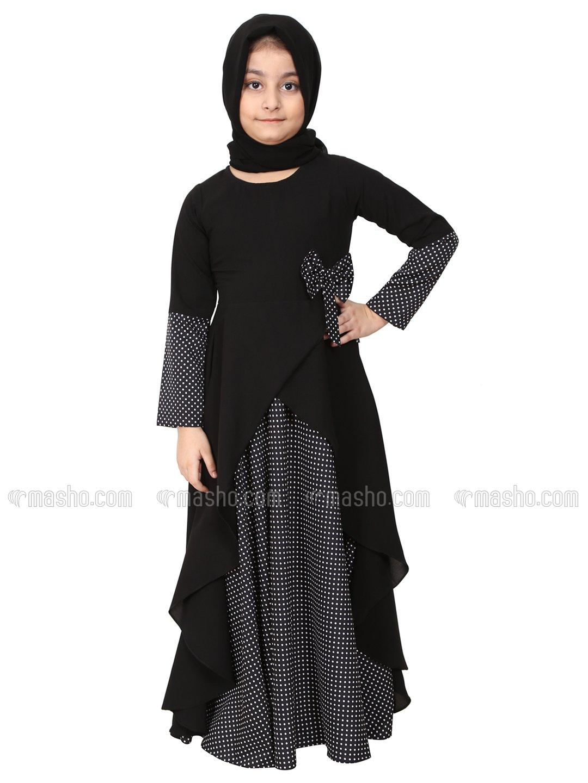 Nidamatte Polka Dotted Asymmetrical Dress For Kids In Black