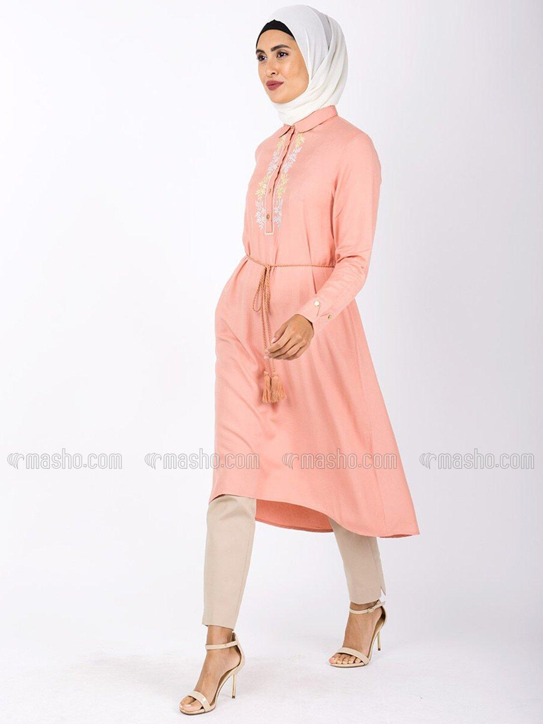 100% Rayon High Low Midi Dress With Embroidered In Salmon Pink