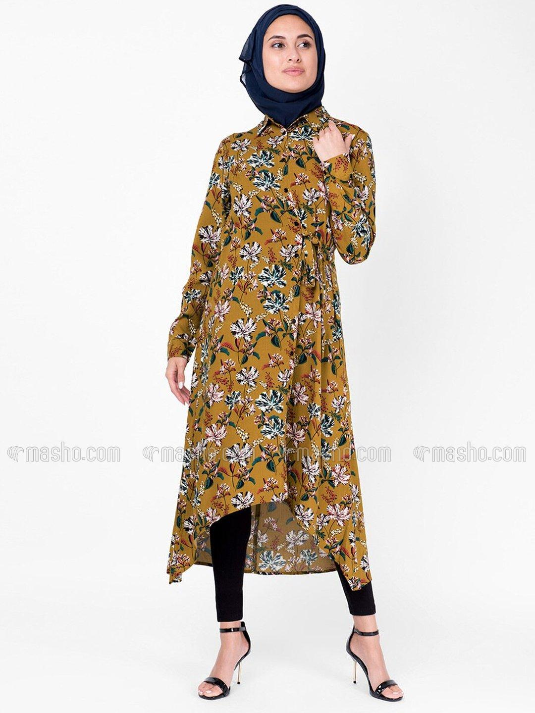 100% Rayon Floral High Low Midi Dress In Mustard