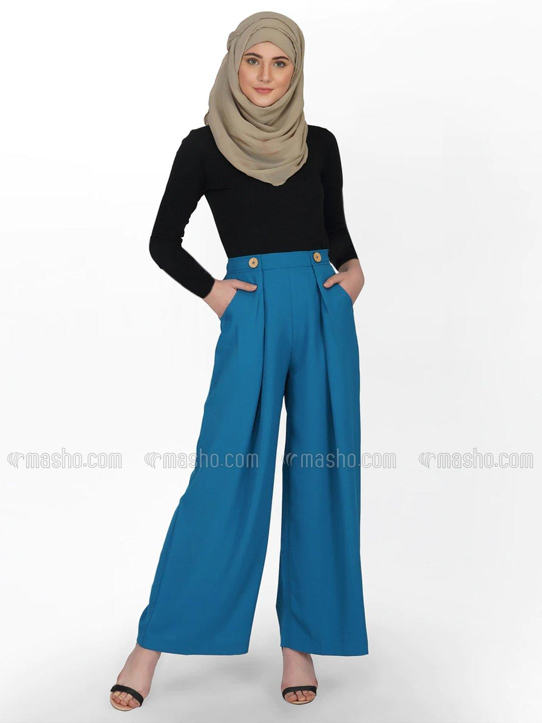 100% Polyster Detail Trouser With Buttons In Corsair Blue